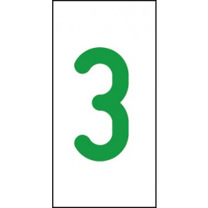 Schild Einzelziffer 3 | grün · weiß