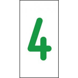 Schild Einzelziffer 4 | grün · weiß