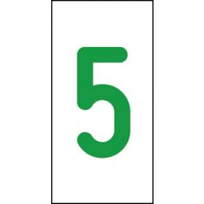 Aufkleber Einzelziffer 5 | grün · weiß
