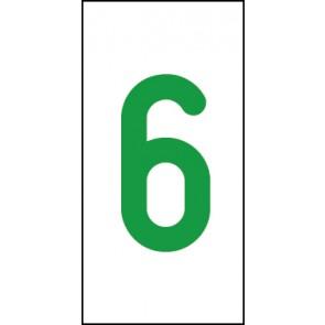 Aufkleber Einzelziffer 6 | grün · weiß
