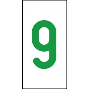 Schild Einzelziffer 9 | grün · weiß
