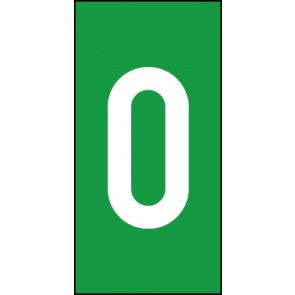 Schild Einzelziffer 0 | weiß · grün