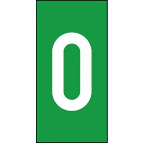 Magnetschild Einzelziffer 0 | weiß · grün