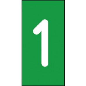 Magnetschild Einzelziffer 1 | weiß · grün
