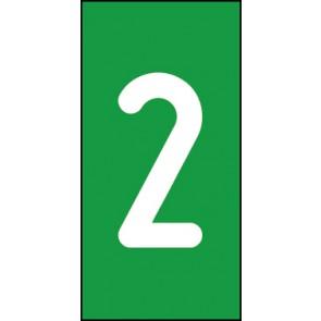 Magnetschild Einzelziffer 2 | weiß · grün