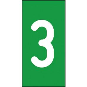 Aufkleber Einzelziffer 3 | weiß · grün
