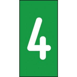 Magnetschild Einzelziffer 4 | weiß · grün