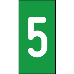 Magnetschild Einzelziffer 5 | weiß · grün