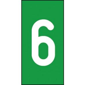 Magnetschild Einzelziffer 6 | weiß · grün