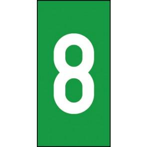 Magnetschild Einzelziffer 8 | weiß · grün