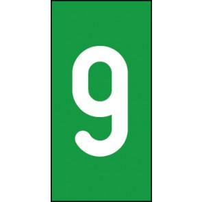 Magnetschild Einzelziffer 9 | weiß · grün