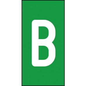Aufkleber Einzelbuchstabe B | weiß · grün
