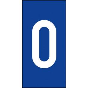 Schild Einzelziffer 0 | weiß · blau