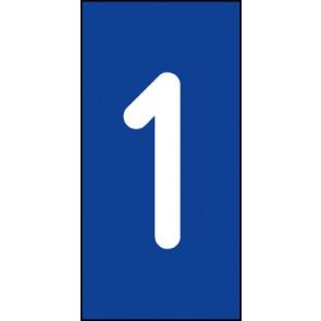 Schild Einzelziffer 1 | weiß · blau