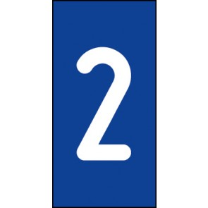 Magnetschild Einzelziffer 2 | weiß · blau