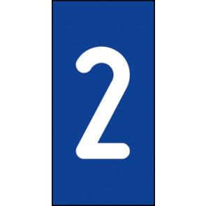 Schild Einzelziffer 2 | weiß · blau