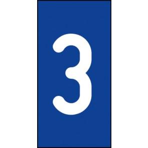 Schild Einzelziffer 3 | weiß · blau