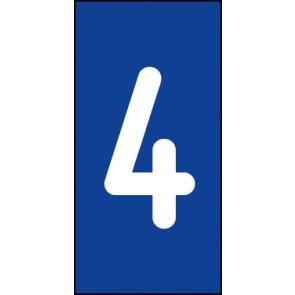 Schild Einzelziffer 4 | weiß · blau