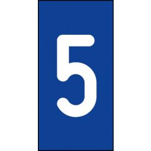 Schild Einzelziffer 5 | weiß · blau