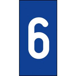 Schild Einzelziffer 6 | weiß · blau