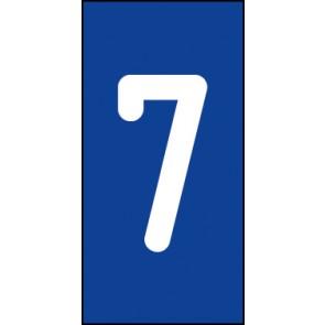 Schild Einzelziffer 7 | weiß · blau