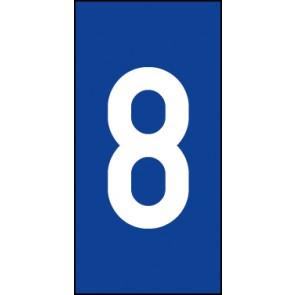 Schild Einzelziffer 8 | weiß · blau