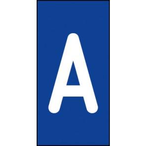 Schild Einzelbuchstabe A | weiß · blau
