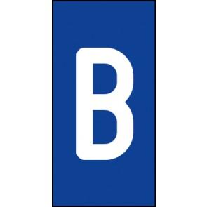 Magnetschild Einzelbuchstabe B | weiß · blau
