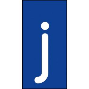 Schild Einzelbuchstabe j | weiß · blau