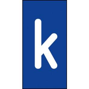 Schild Einzelbuchstabe k | weiß · blau