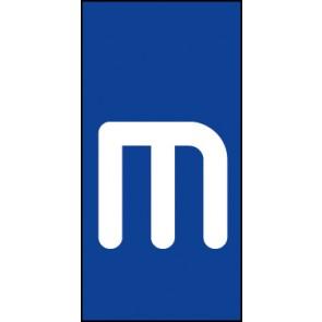 Schild Einzelbuchstabe m | weiß · blau