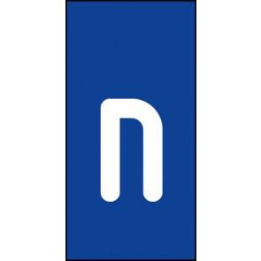 Schild Einzelbuchstabe n | weiß · blau