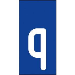 Schild Einzelbuchstabe q | weiß · blau