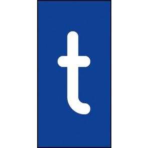 Schild Einzelbuchstabe t | weiß · blau