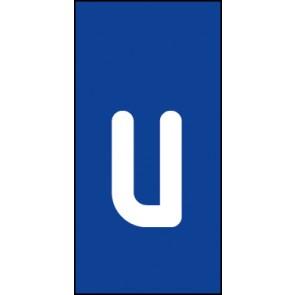 Schild Einzelbuchstabe u | weiß · blau