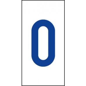 Aufkleber Einzelziffer 0 | blau · weiß