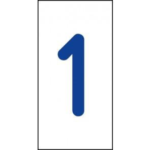 Aufkleber Einzelziffer 1 | blau · weiß
