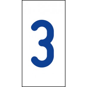 Aufkleber Einzelziffer 3 | blau · weiß