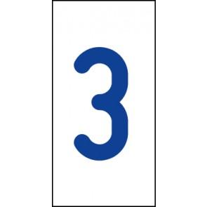 Aufkleber Einzelziffer 3   blau · weiß