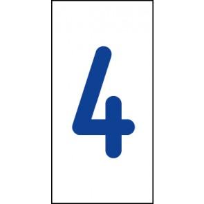 Aufkleber Einzelziffer 4   blau · weiß