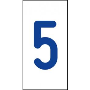Aufkleber Einzelziffer 5   blau · weiß