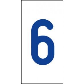 Aufkleber Einzelziffer 6   blau · weiß