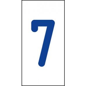 Aufkleber Einzelziffer 7   blau · weiß