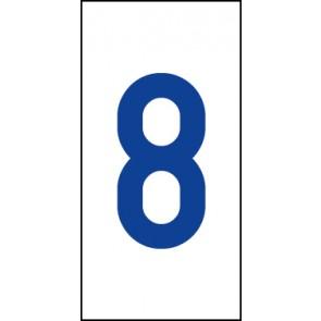 Aufkleber Einzelziffer 8 | blau · weiß