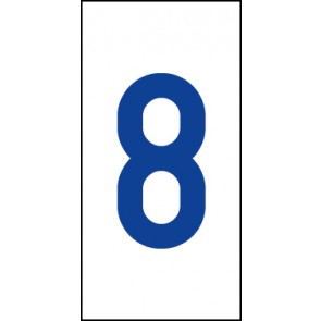 Aufkleber Einzelziffer 8   blau · weiß