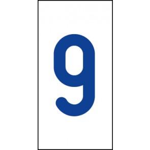 Aufkleber Einzelziffer 9   blau · weiß