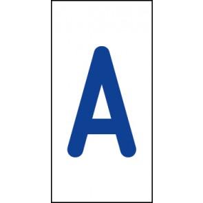 Aufkleber Einzelbuchstabe A   blau · weiß