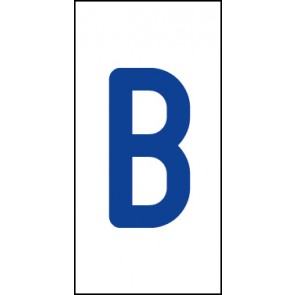 Aufkleber Einzelbuchstabe B | blau · weiß