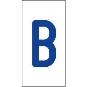 Aufkleber Einzelbuchstabe B   blau · weiß