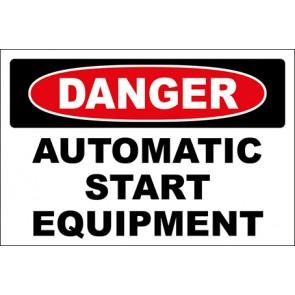 Aufkleber Automatic Start Equipment · Danger · OSHA Arbeitsschutz